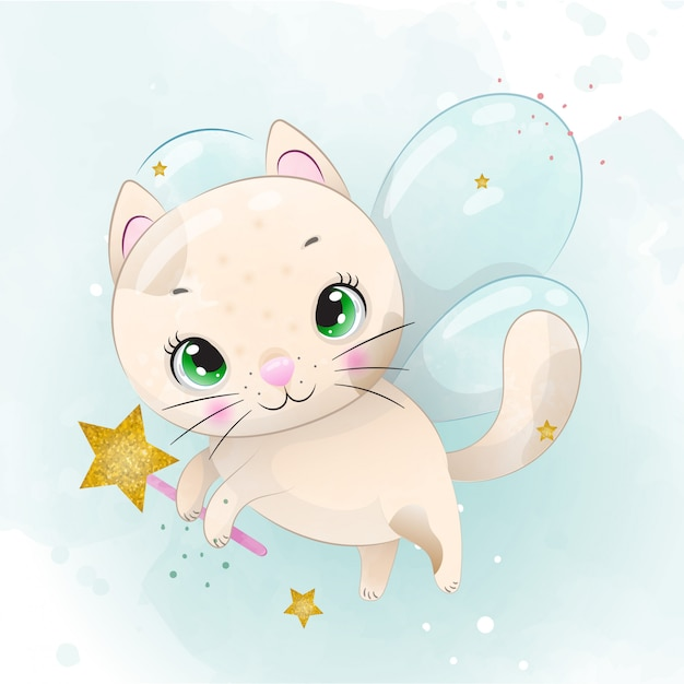 水彩で描かれた赤ちゃん子猫かわいいキャラクター Premiumベクター