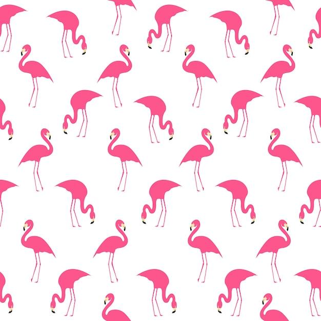 Фламинго лето бесшовные шаблон Premium векторы