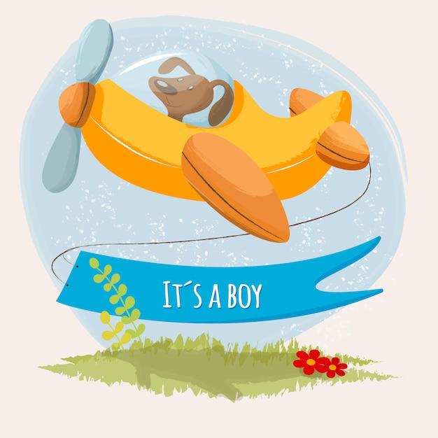 それは飛行機の上の小さな子犬を持つ少年かわいいカード Premiumベクター
