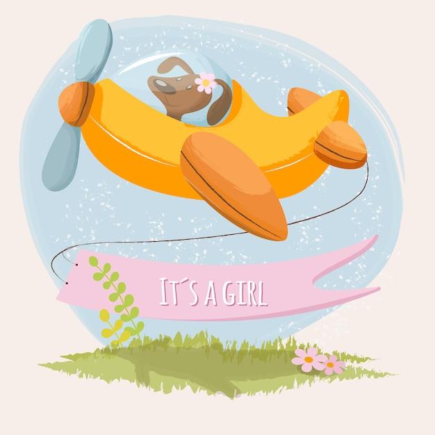 Симпатичная открытка это девушка с маленьким щенком в самолете Premium векторы