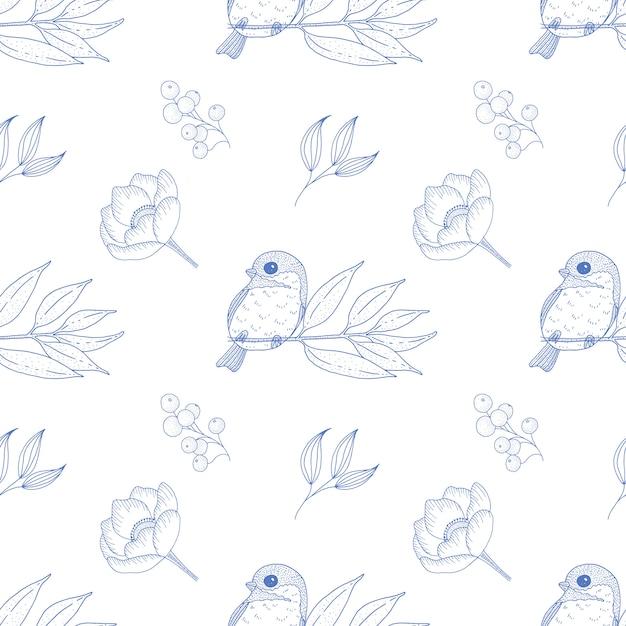 Картина винтажной весны безшовная с милой птицей и заводами. Premium векторы