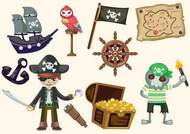 漫画の海賊のコレクション Premiumベクター