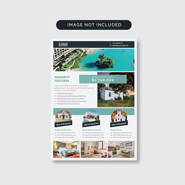 Флаер по недвижимости с фотоэлементами Premium векторы