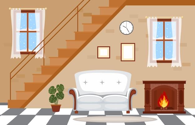 暖炉のあるリビングルームファミリーハウスのインテリア家具のベクトルイラスト Premiumベクター