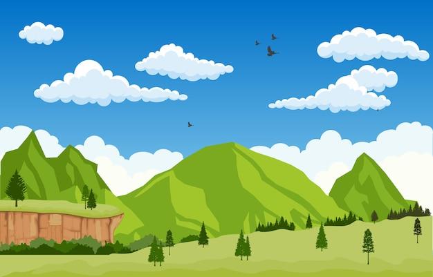 マウンテンバレーの崖の木自然風景ベクトルイラスト Premiumベクター
