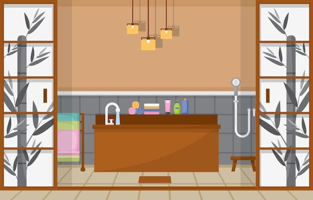 住宅の家具付きバスルーム Premiumベクター