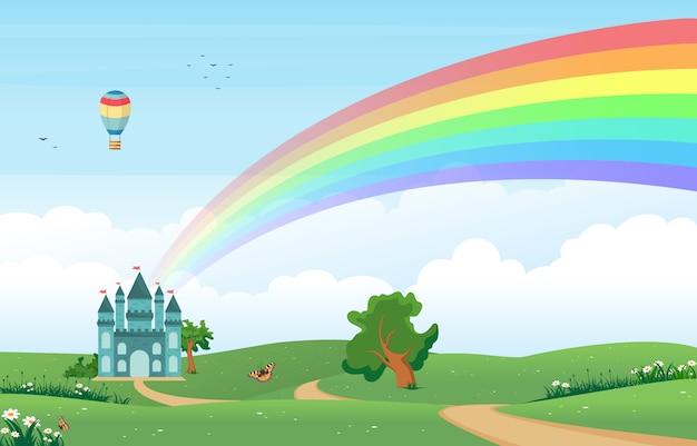 緑の牧草地の山の自然と美しい虹の空 Premiumベクター