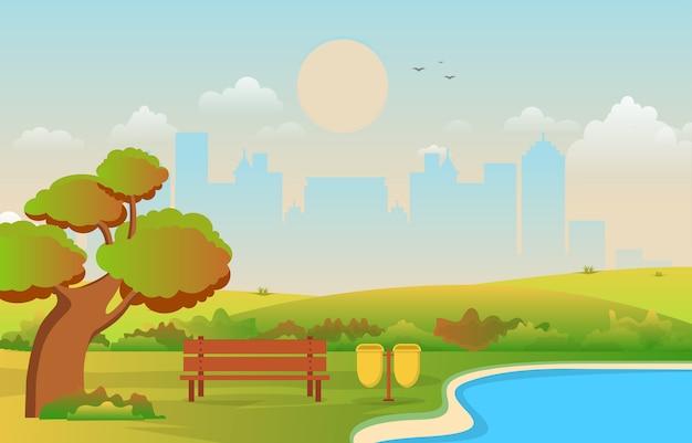 建物のスカイラインの図と秋秋の美しい都市公園 Premiumベクター