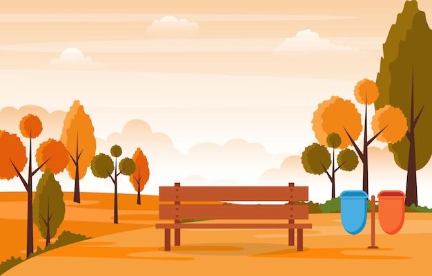 ツリー空の風景イラストと秋秋の美しい公園の庭 Premiumベクター