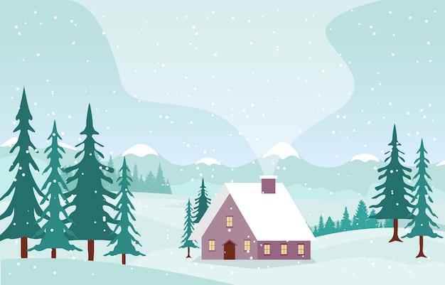 松の木の山と冬景色の雪の風景 Premiumベクター
