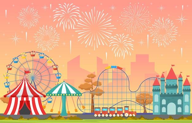 花火の風景イラストと遊園地サーカスカーニバル祭楽しいフェア Premiumベクター