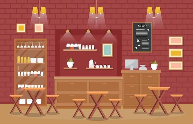 Модерн кафе кофейня интерьер мебель ресторан Premium векторы