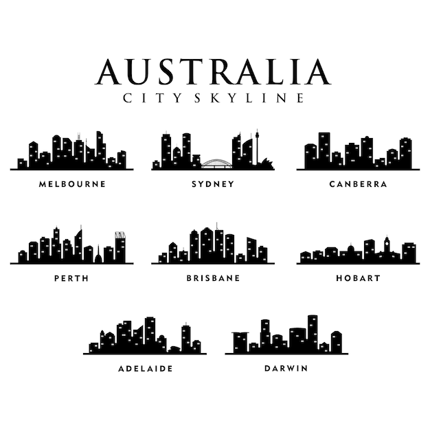 オーストラリアの都市 - 都市ツアースカイラインイラストレーション Premiumベクター
