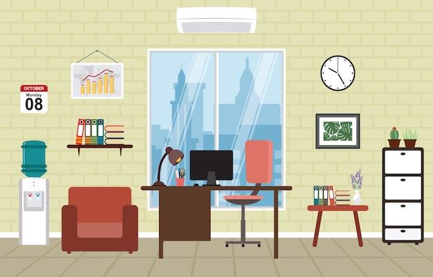 オフィスワークワークスペースワークスペーステーブルデスクインテリアルーム Premiumベクター