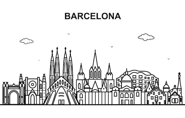 バルセロナシティツアー都市景観スカイラインライン概要 Premiumベクター