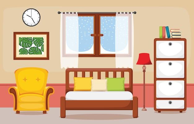 寝室のインテリア寝室フラットデザインイラスト Premiumベクター