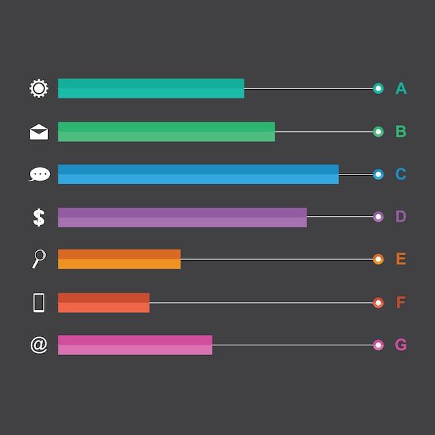棒グラフグラフ図統計水平インフォグラフィック Premiumベクター