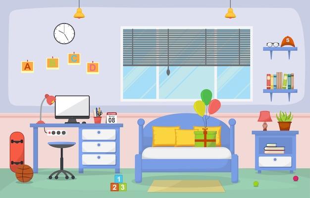 学生勉強机テーブル寝室インテリア部屋の家具 Premiumベクター
