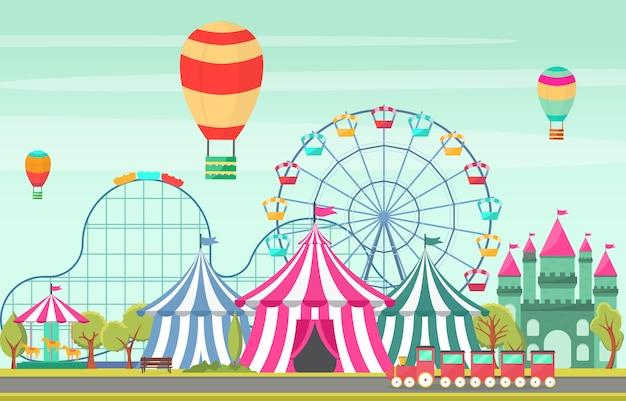 遊園地サーカスカーニバルフェスティバル楽しいフェア風景イラスト Premiumベクター