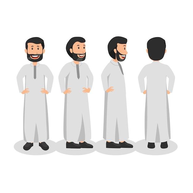 Арабский человек разворачивает дизайн персонажей Premium векторы