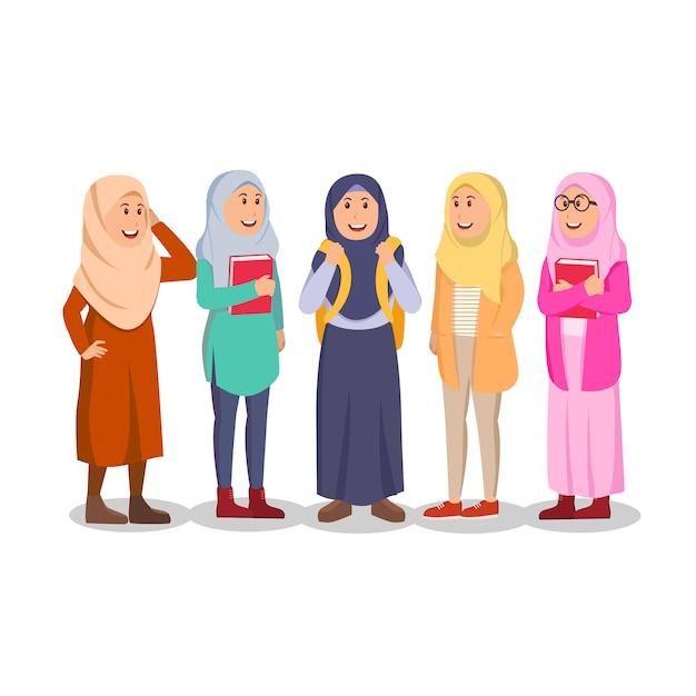 カジュアルなイスラム教徒の女性学生のグループ Premiumベクター