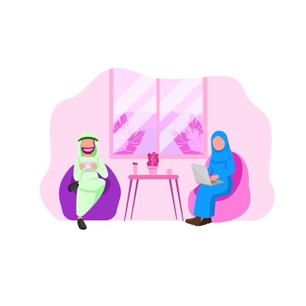 アラビア人の男と女のガジェットを使用して Premiumベクター