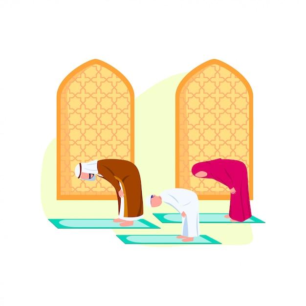 Арабская семья молится вместе иллюстрации Premium векторы