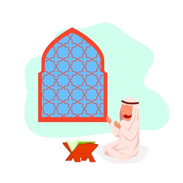 Арабский мужчина молится плоский векторная иллюстрация Premium векторы