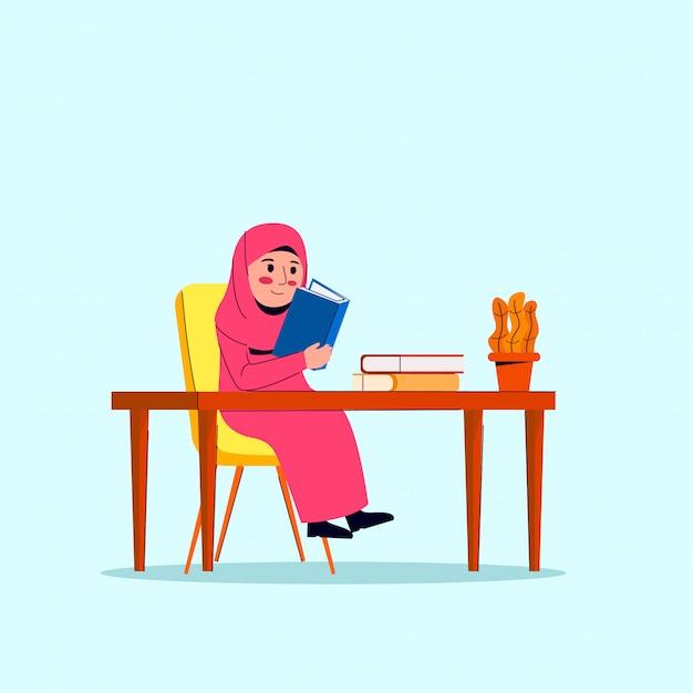 Маленькая арабская хиджаб девушка читает книгу мультфильм Premium векторы