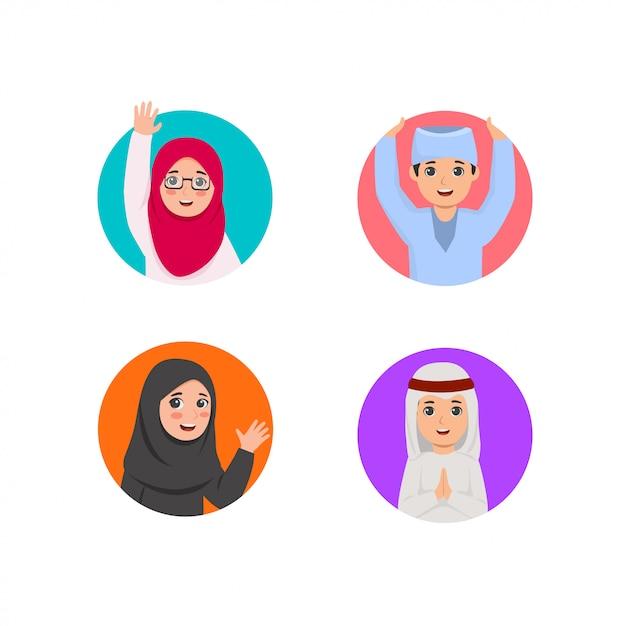 丸穴のイラストアラビア子供たちのグループ Premiumベクター