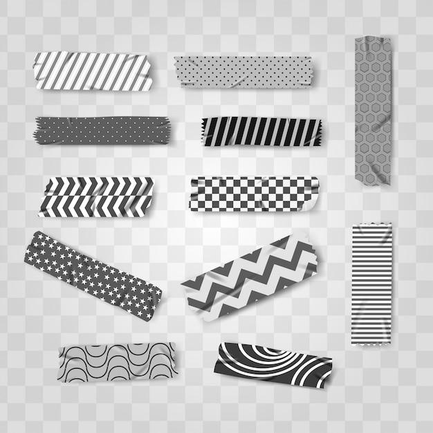 黒と白の和紙のリアルなテープパターン Premiumベクター