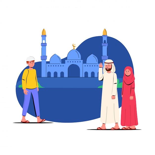 ラマダンカリームイラスト祈りのためにモスクに行く人々 Premiumベクター