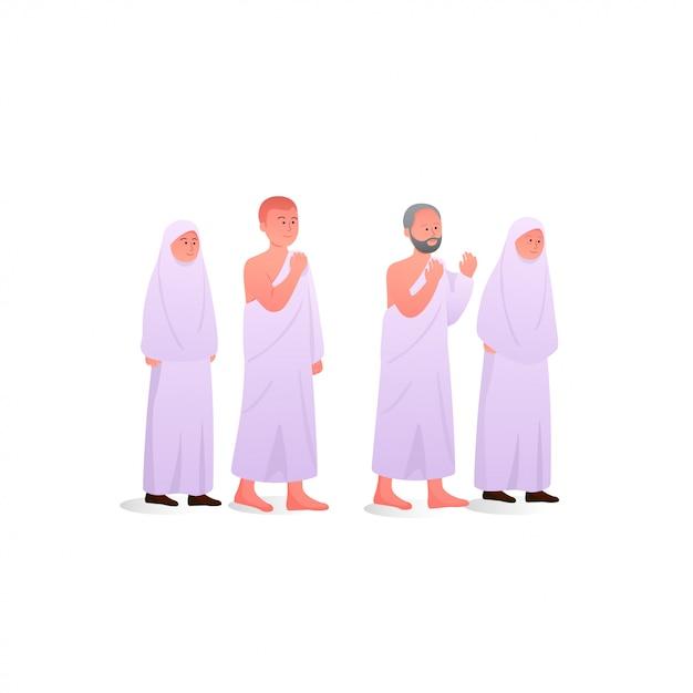 イスラム教徒がイラムを身に着けている間の家族 Premiumベクター