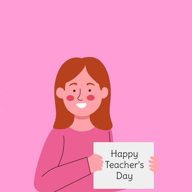 Милая маленькая девочка с бумагой говоря приветствие на день учителя Premium векторы