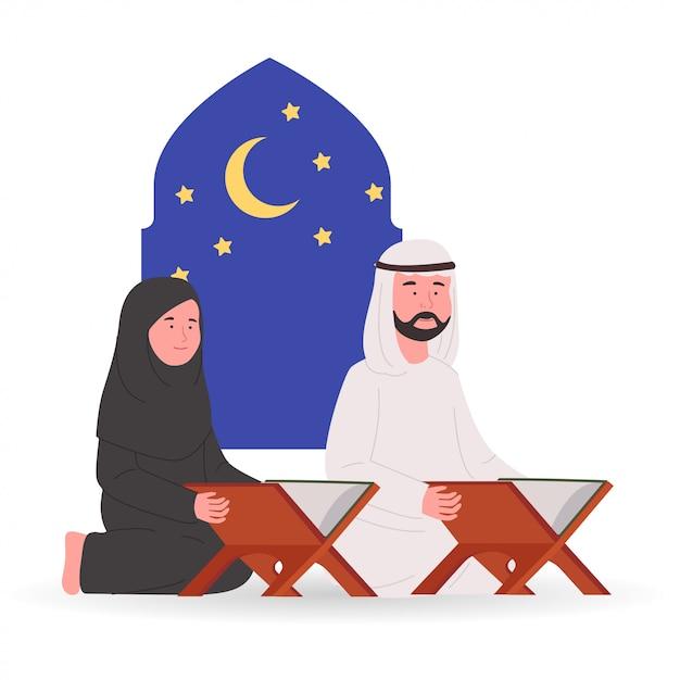 Мусульманская пара вместе читает коран рамадан карим Premium векторы