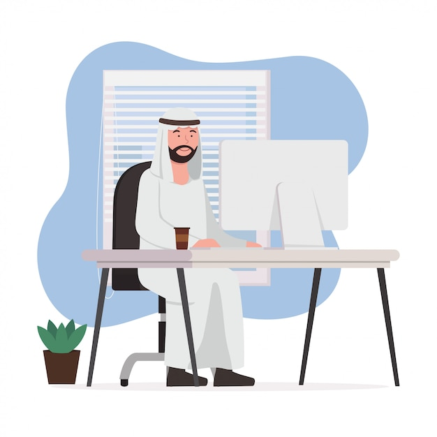 Арабский мужчина работа из дома Premium векторы