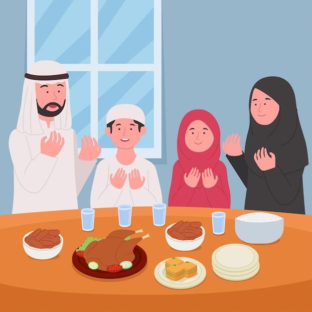 Рамадан карим молитесь вместе перед ифтаром иллюстрация Premium векторы