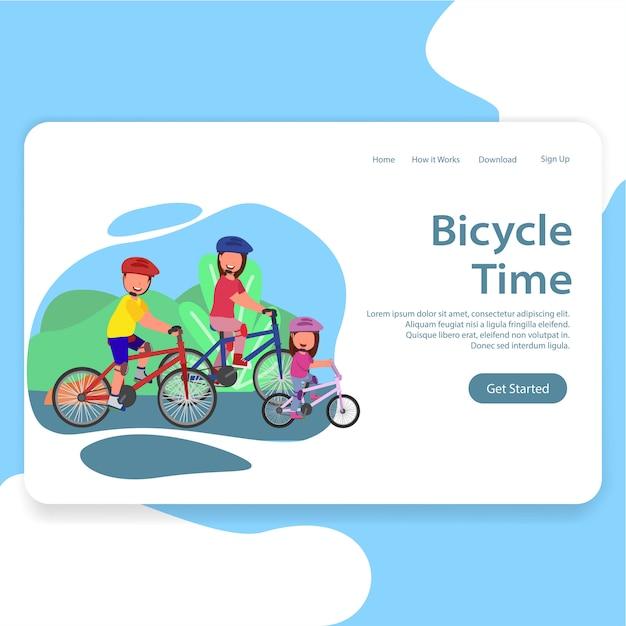 自転車の時間を楽しむ家族イラストランディングページ Premiumベクター