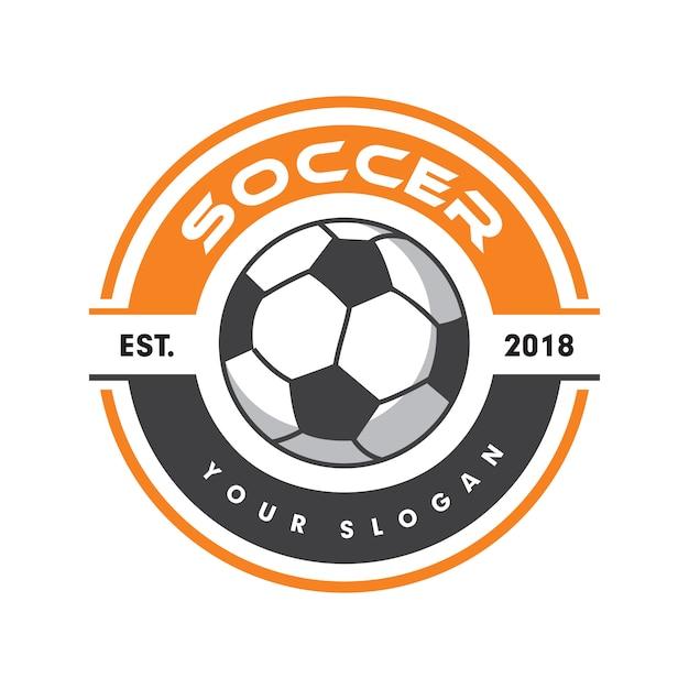サッカーのロゴ、スポーツのロゴ、サッカーのロゴ Premiumベクター