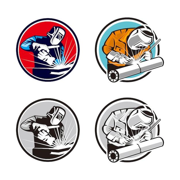 溶接機のロゴ Premiumベクター