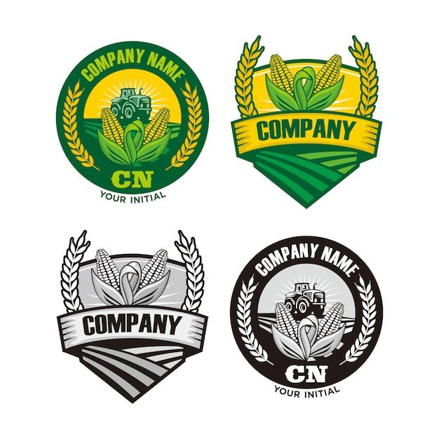 Логотип фермы, логотип фермы кукурузы и пшеницы Premium векторы