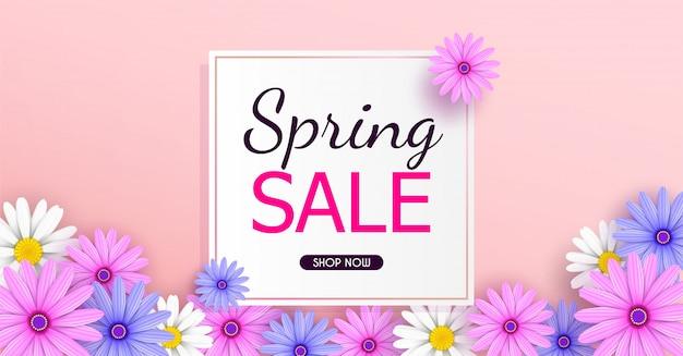 美しい色とりどりの花で春のセールのバナーの背景が咲いています。 Premiumベクター