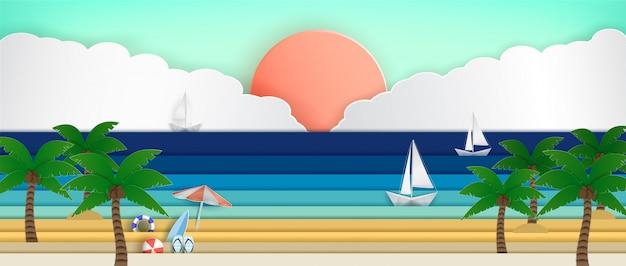 夏休みの間に海のパノラマ。 Premiumベクター