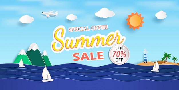 Вид на море и летняя распродажа баннер с бумагой вырезать. Premium векторы
