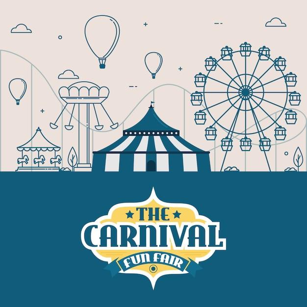 テント、サーカス、カルーセル、ジェットコースターのある遊園地 Premiumベクター