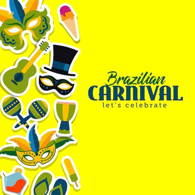 ブラジルのカーニバルテンプレートベクトルイラスト Premiumベクター