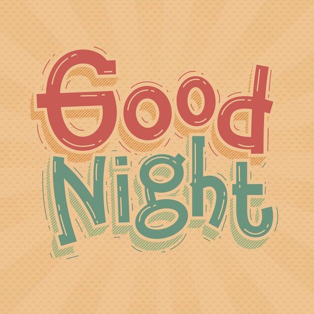 Спокойной ночи надписи каракули рисованной Premium векторы