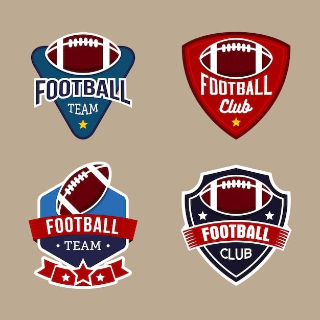 フットボールチームバッジロゴデザインテンプレートのセット Premiumベクター