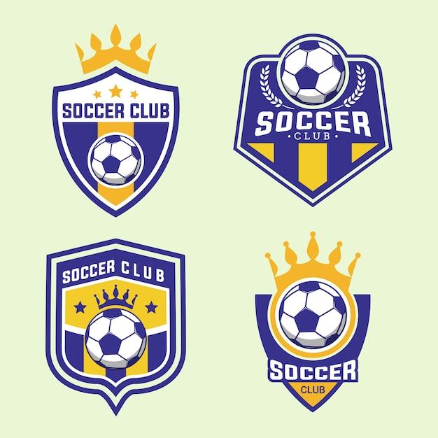 サッカーサッカーチームバッジロゴデザインテンプレートのセット Premiumベクター