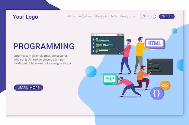 ランディングページのテンプレートプログラミング Premiumベクター